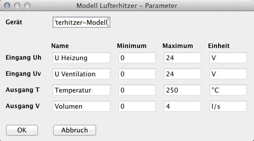 Abb. 5: Das Konfigurationsfenster des Lufterhitzermodells